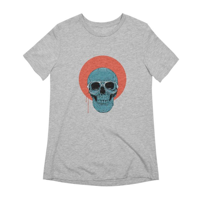 Blue skull Women's Extra Soft T-Shirt by Balazs Solti