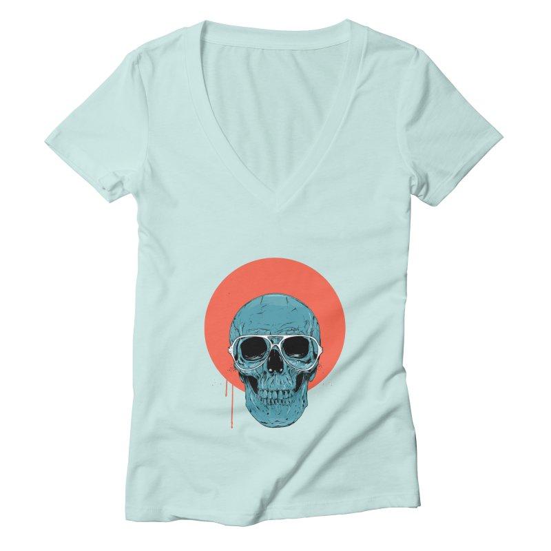Blue skull Women's Deep V-Neck V-Neck by Balazs Solti