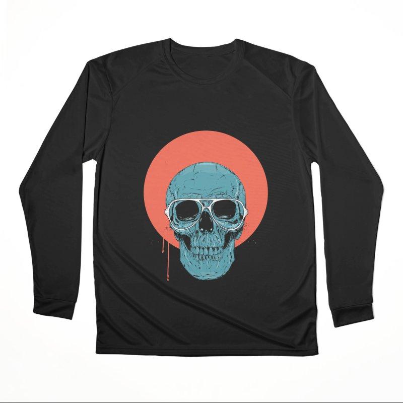 Blue skull Men's Performance Longsleeve T-Shirt by Balazs Solti
