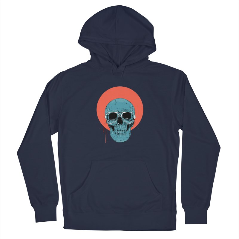 Blue skull Men's French Terry Pullover Hoody by Balazs Solti