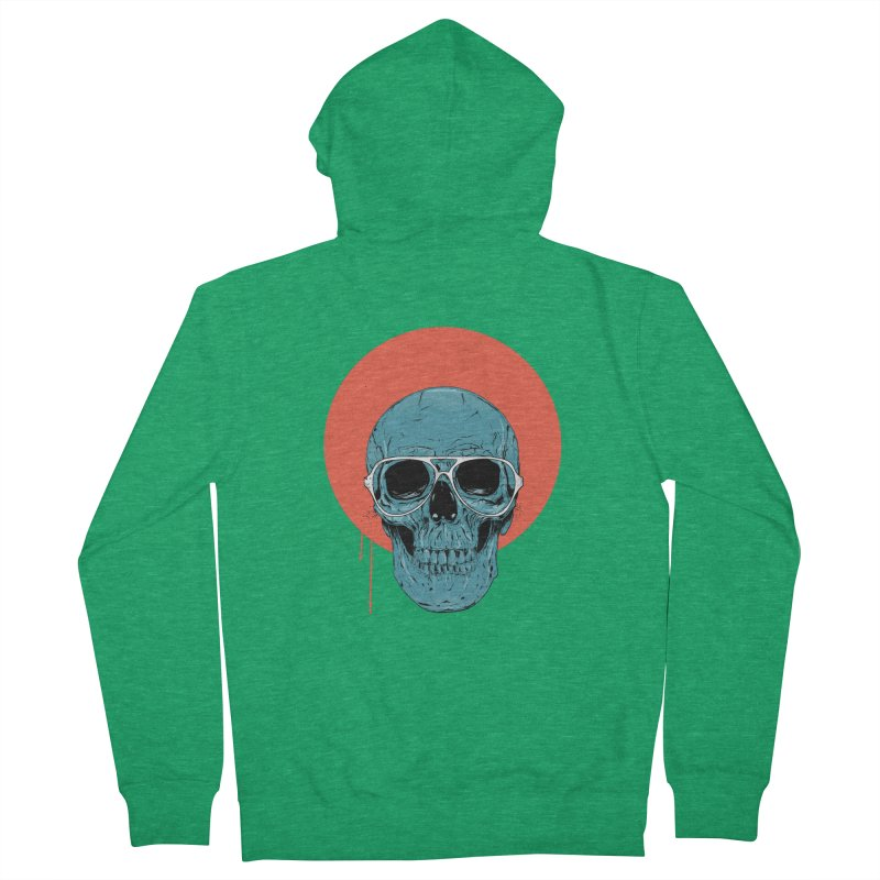 Blue skull Women's French Terry Zip-Up Hoody by Balazs Solti