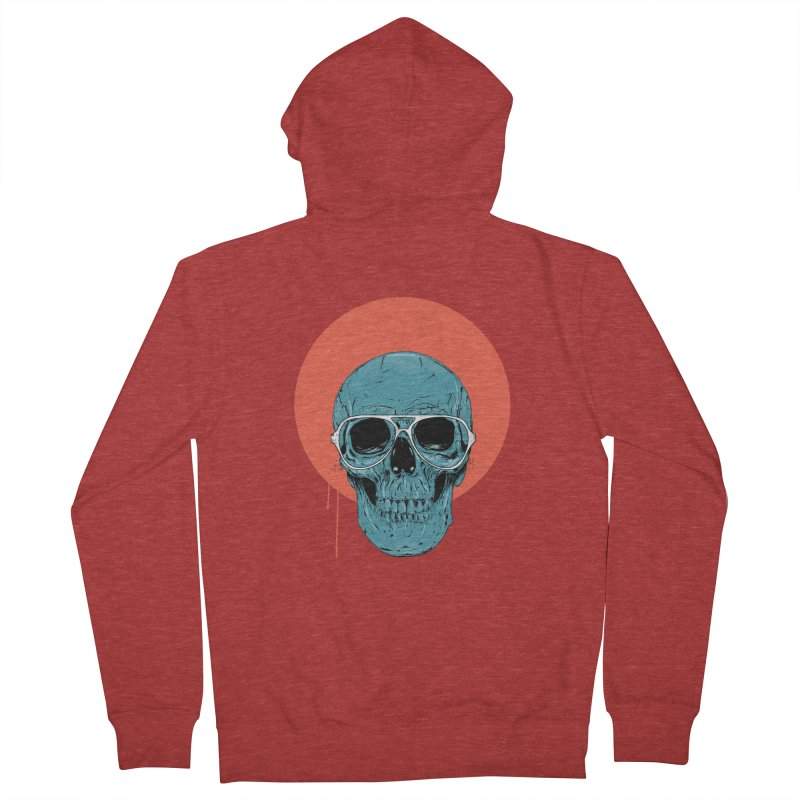 Blue skull Men's French Terry Zip-Up Hoody by Balazs Solti