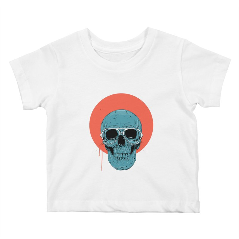 Blue skull Kids Baby T-Shirt by Balazs Solti