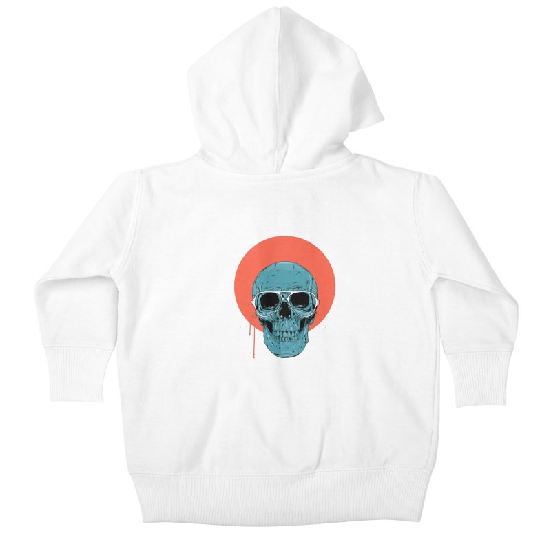 Blue skull Kids Baby Zip-Up Hoody by Balazs Solti