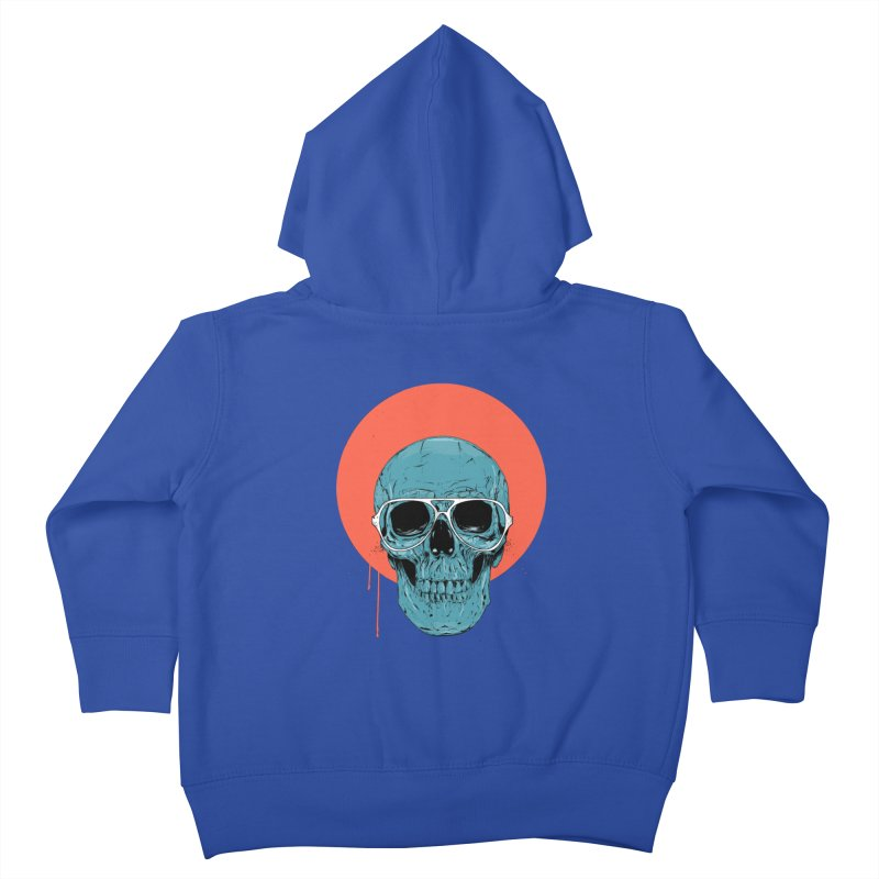 Blue skull Kids Toddler Zip-Up Hoody by Balazs Solti