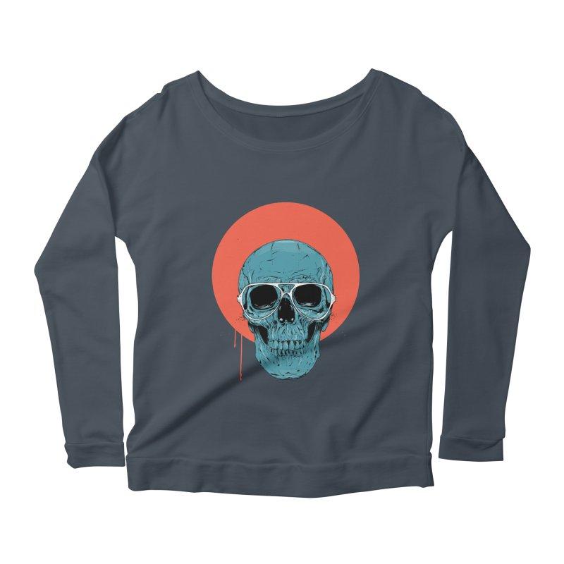 Blue skull Women's Scoop Neck Longsleeve T-Shirt by Balazs Solti