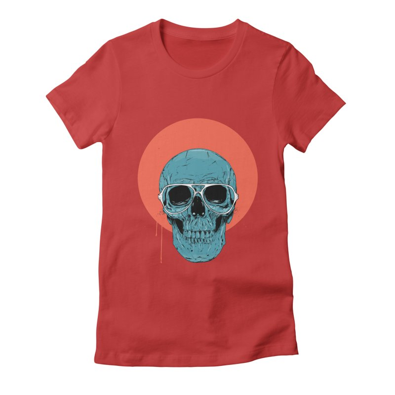 Blue skull Women's Fitted T-Shirt by Balazs Solti