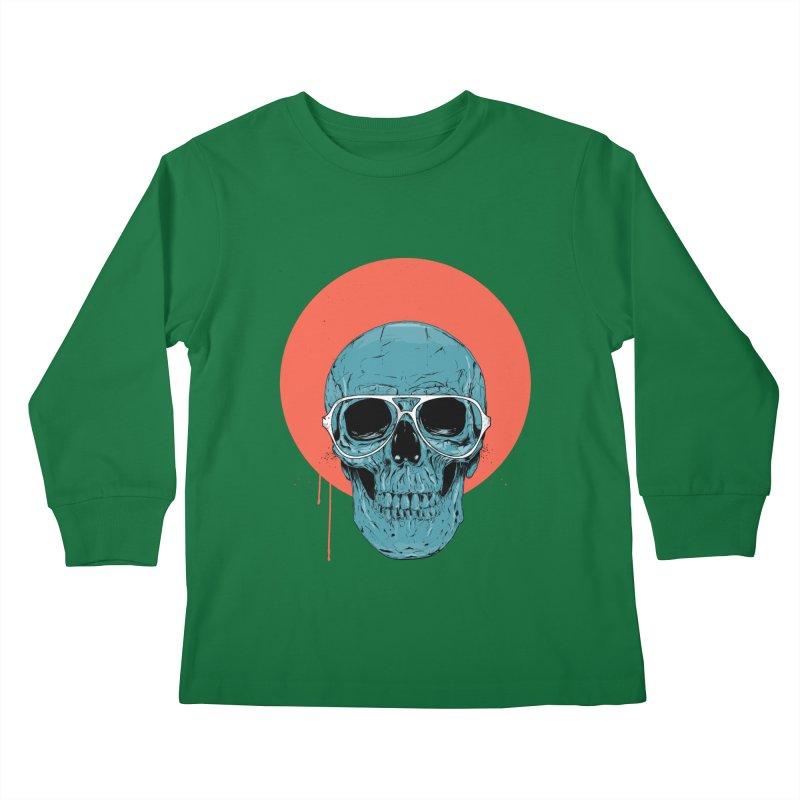 Blue skull Kids Longsleeve T-Shirt by Balazs Solti