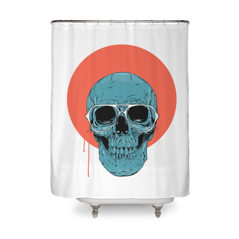 Blue skull Home Shower Curtain by Balazs Solti