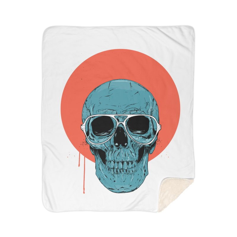 Blue skull Home Sherpa Blanket Blanket by Balazs Solti