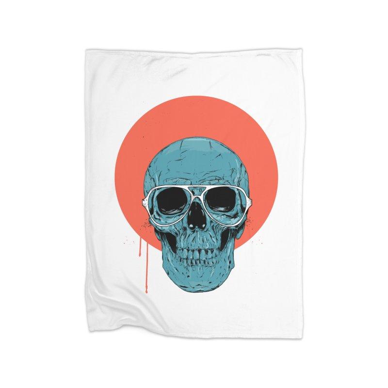 Blue skull Home Fleece Blanket Blanket by Balazs Solti
