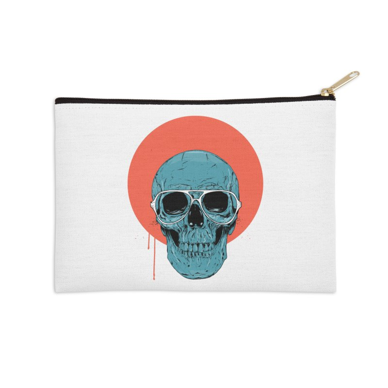 Blue skull Accessories Zip Pouch by Balazs Solti