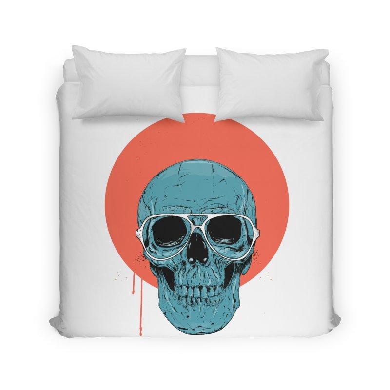 Blue skull Home Duvet by Balazs Solti