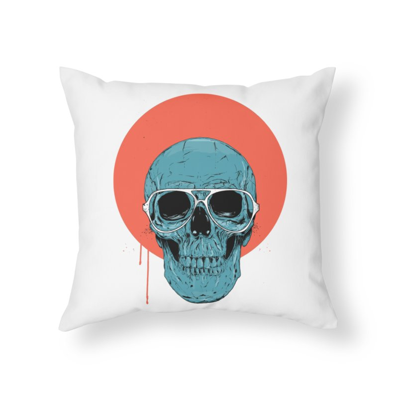 Blue skull Home Throw Pillow by Balazs Solti