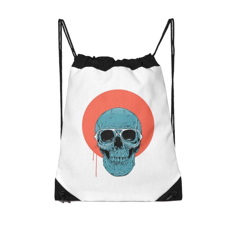 Blue skull Accessories Drawstring Bag Bag by Balazs Solti