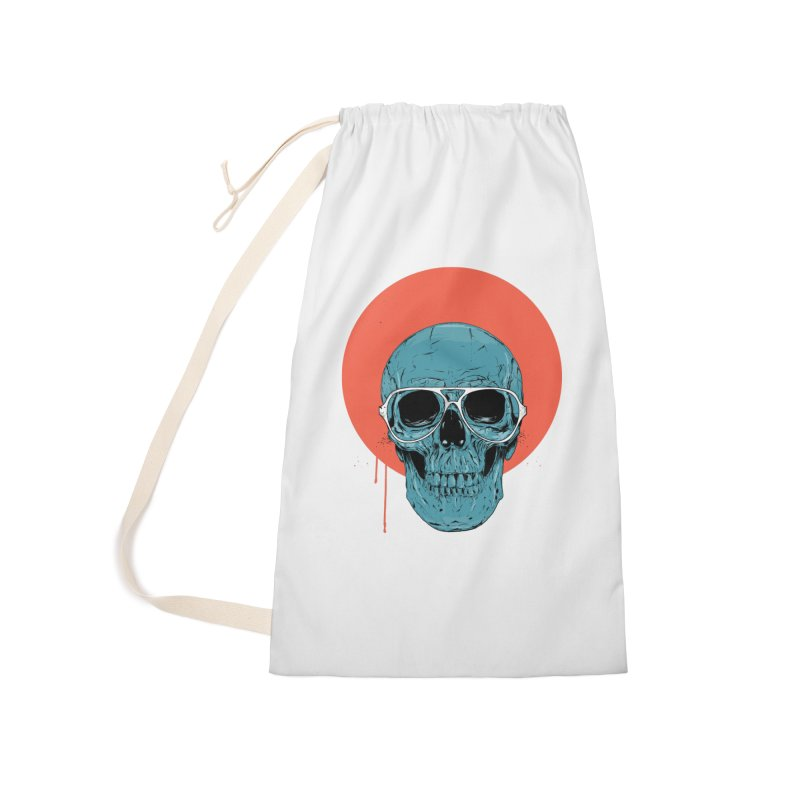 Blue skull Accessories Laundry Bag Bag by Balazs Solti