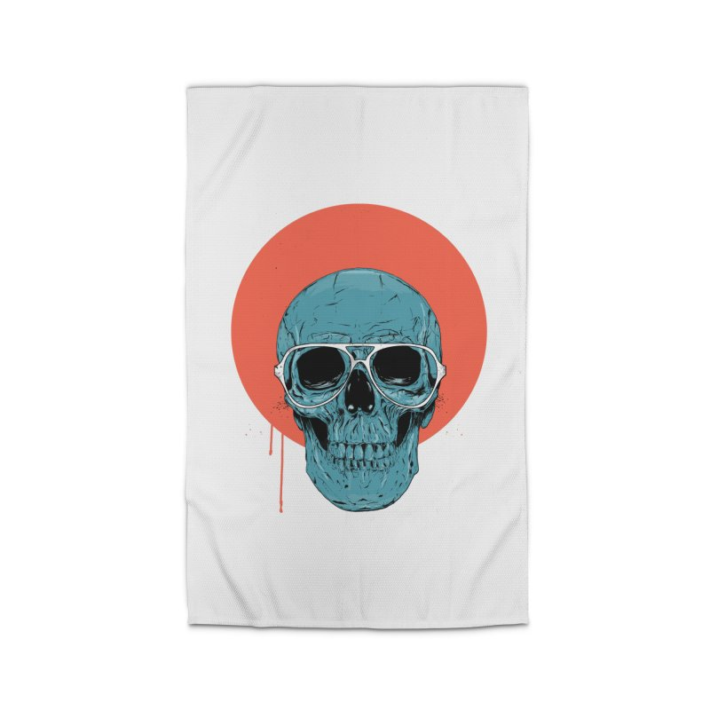 Blue skull Home Rug by Balazs Solti