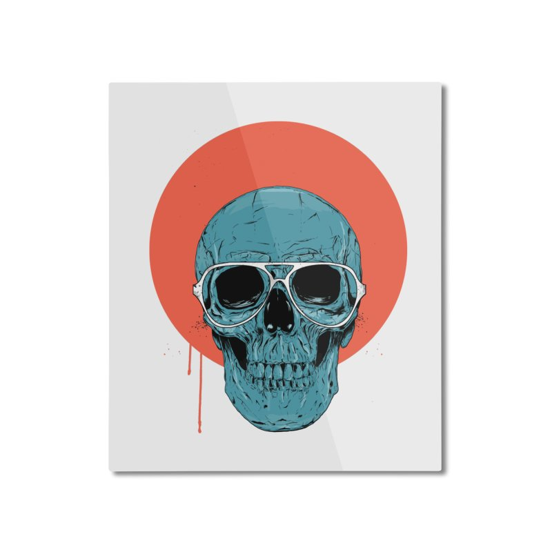Blue skull Home Mounted Aluminum Print by Balazs Solti