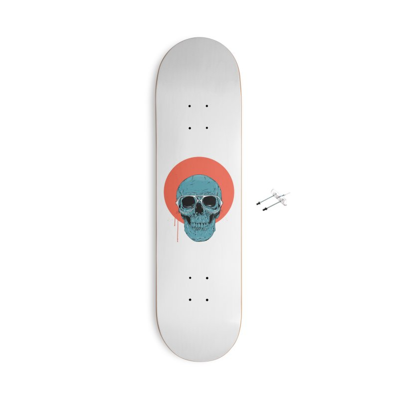 Blue skull Accessories With Hanging Hardware Skateboard by Balazs Solti