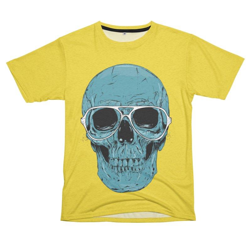 Blue skull II Women's Unisex French Terry T-Shirt Cut & Sew by Balazs Solti