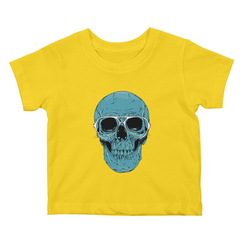 Blue skull II Kids Baby T-Shirt by Balazs Solti