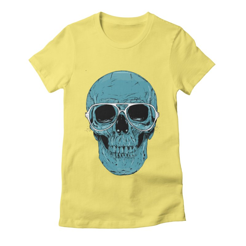 Blue skull II Women's Fitted T-Shirt by Balazs Solti