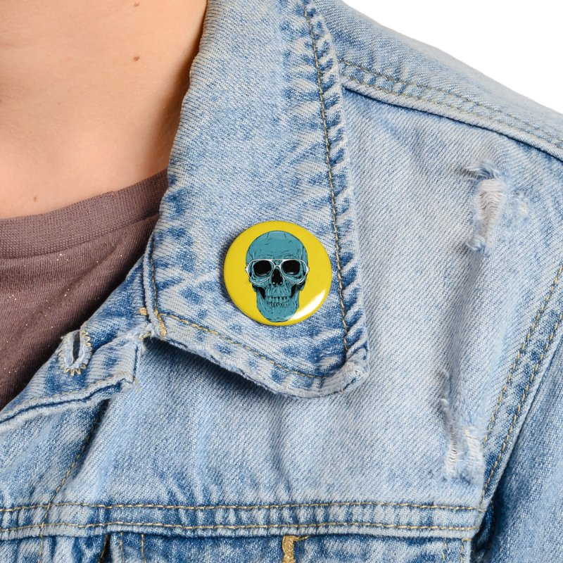 Blue skull II Accessories Button by Balazs Solti