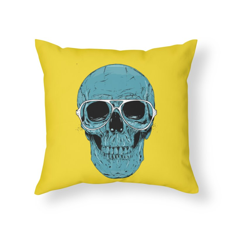 Blue skull II Home Throw Pillow by Balazs Solti