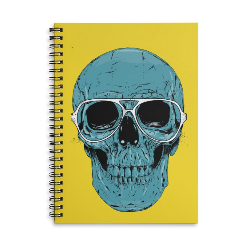 Blue skull II Accessories Lined Spiral Notebook by Balazs Solti