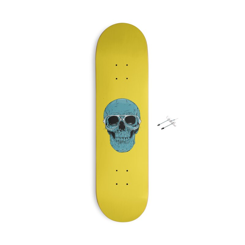 Blue skull II Accessories With Hanging Hardware Skateboard by Balazs Solti