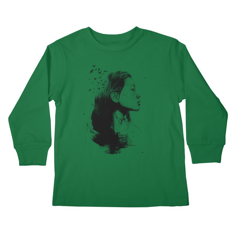Open your mind (bw) Kids Longsleeve T-Shirt by Balazs Solti