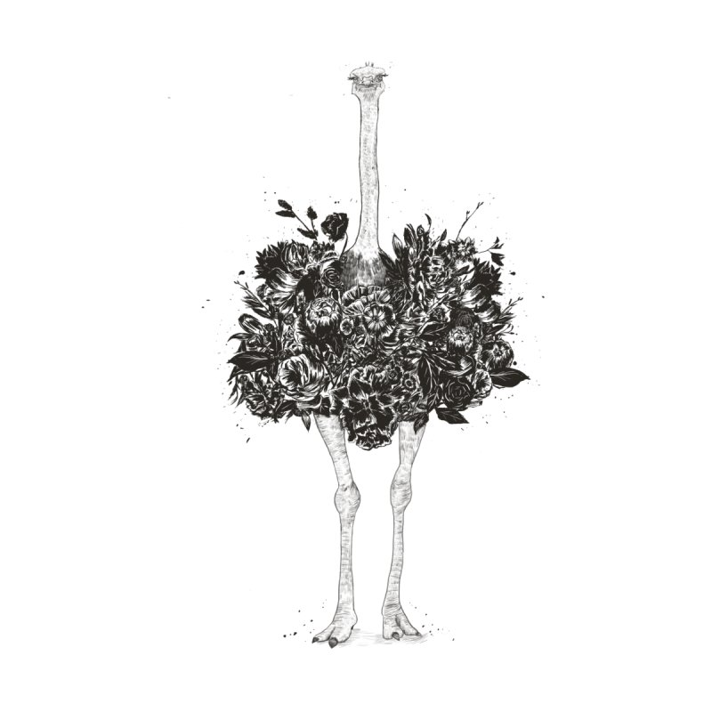 Floral ostrich Home Shower Curtain by Balazs Solti