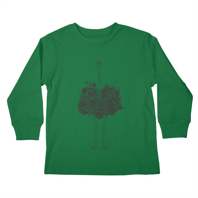 Floral ostrich Kids Longsleeve T-Shirt by Balazs Solti