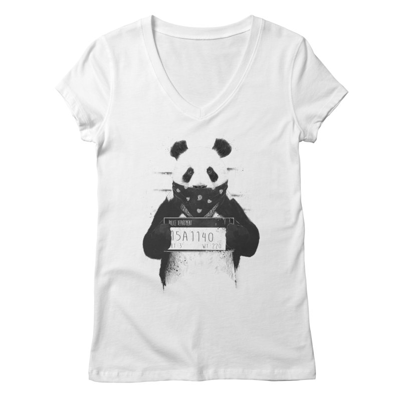 Bad Panda Women's V-Neck by Balazs Solti