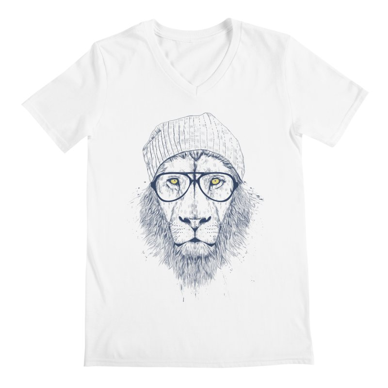 Cool Lion Men's V-Neck by Balazs Solti