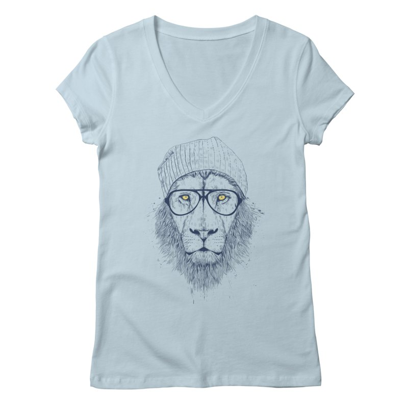 Cool Lion Women's V-Neck by Balazs Solti