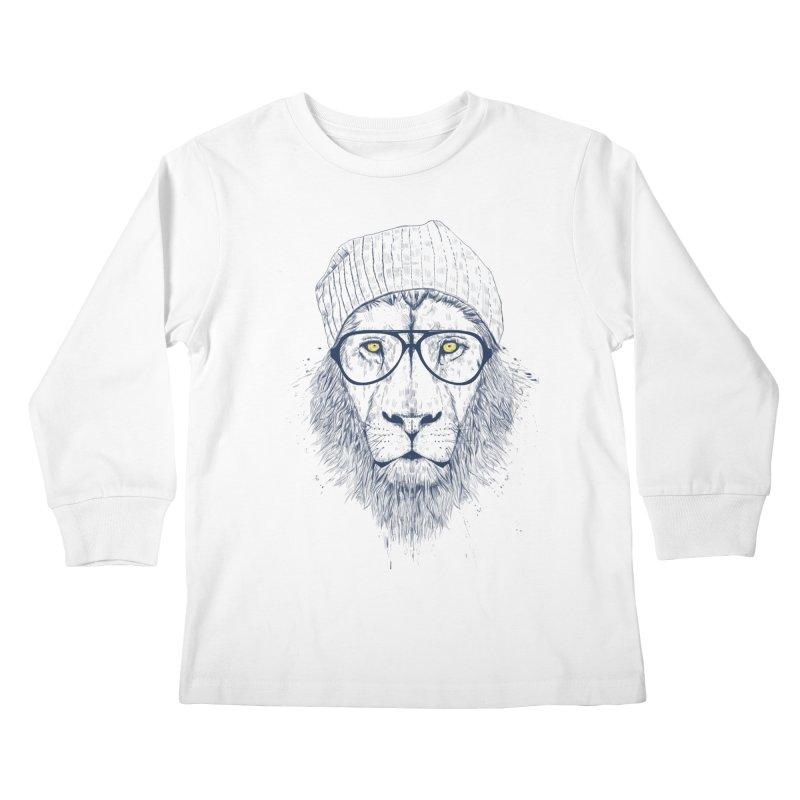 Cool Lion Kids Longsleeve T-Shirt by Balazs Solti