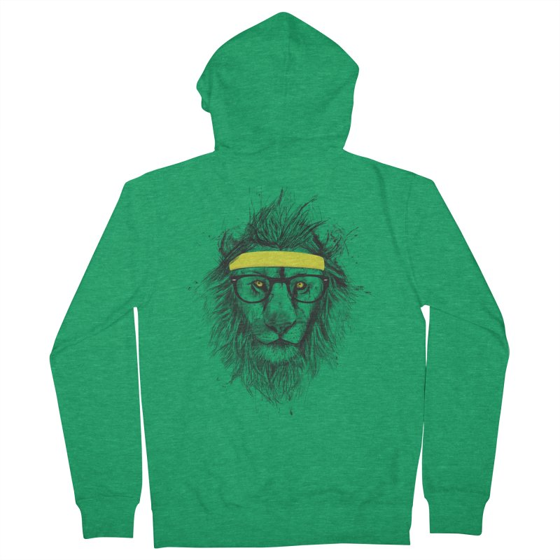 Hipster Lion Men's Zip-Up Hoody by Balazs Solti