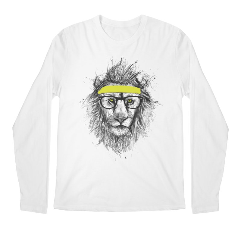 Hipster Lion Men's Longsleeve T-Shirt by Balazs Solti
