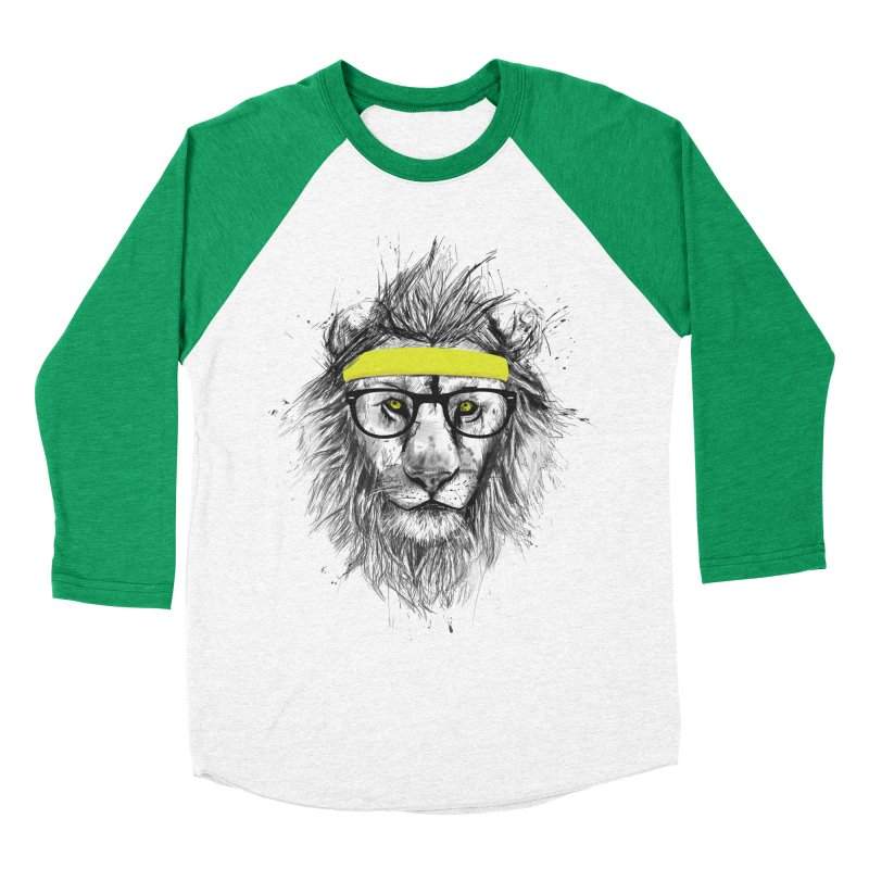 Hipster Lion Women's Baseball Triblend T-Shirt by Balazs Solti