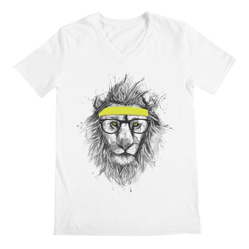 Hipster Lion Men's V-Neck by Balazs Solti