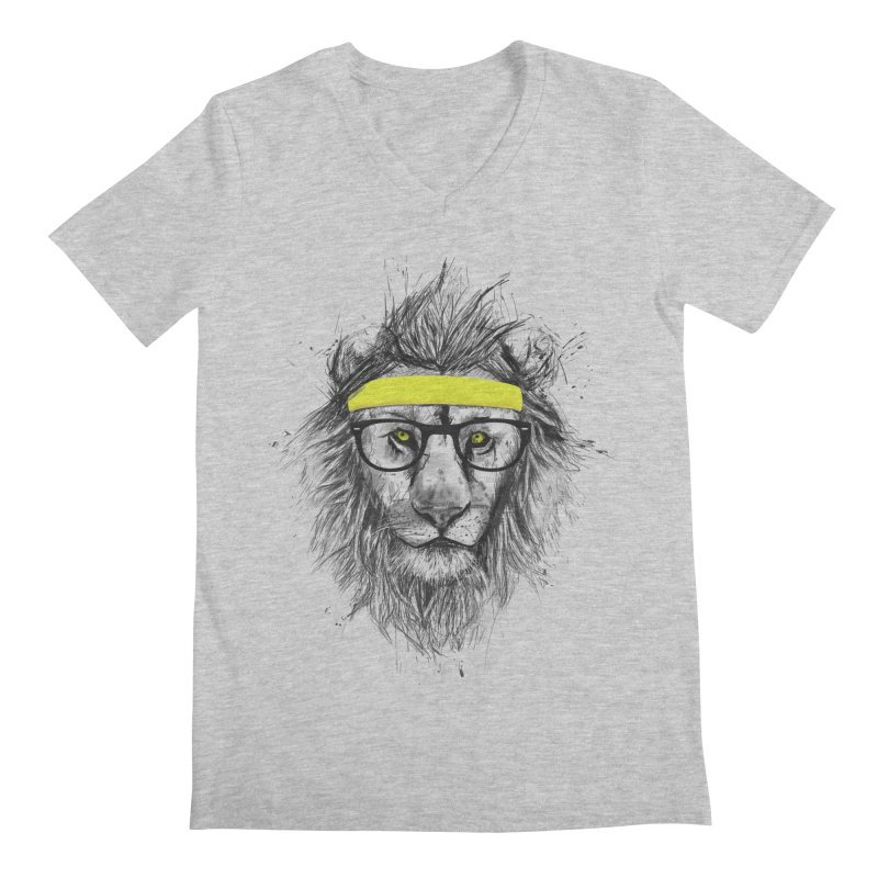 Hipster Lion Men's V-Neck by Balazs Solti