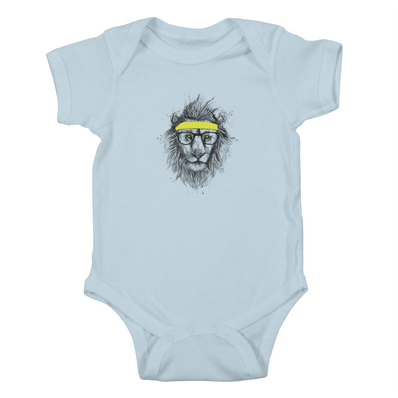 Hipster Lion Kids Baby Bodysuit by Balazs Solti