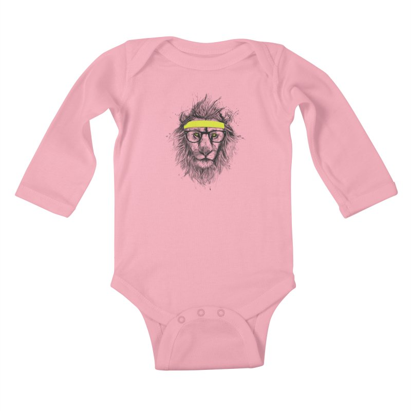 Hipster Lion Kids Baby Longsleeve Bodysuit by Balazs Solti