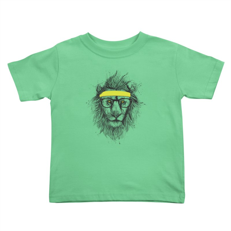 Hipster Lion Kids Toddler T-Shirt by Balazs Solti