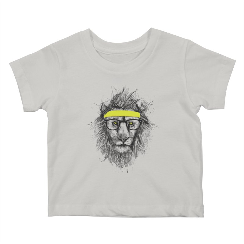 Hipster Lion Kids Baby T-Shirt by Balazs Solti