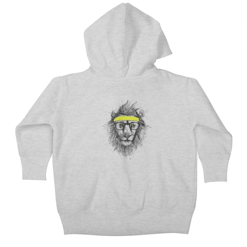 Hipster Lion Kids Baby Zip-Up Hoody by Balazs Solti
