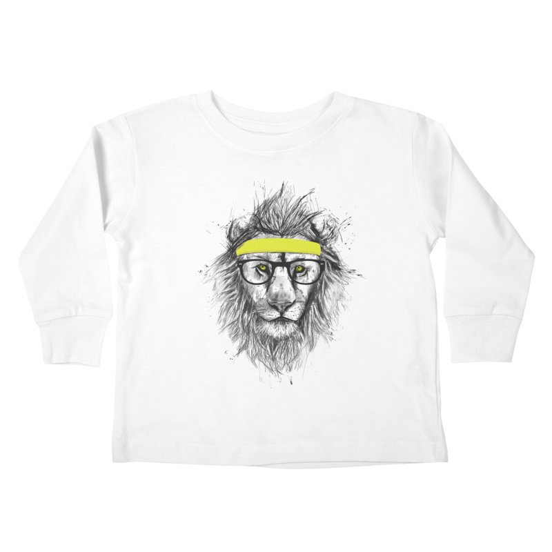 Hipster Lion Kids Toddler Longsleeve T-Shirt by Balazs Solti