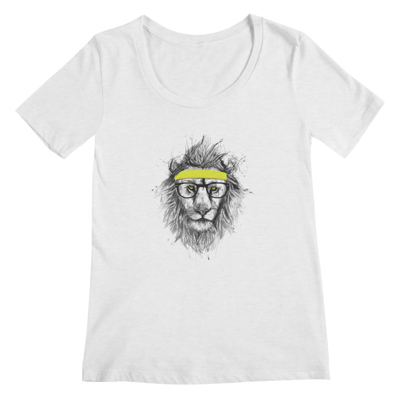 Hipster Lion Women's Scoopneck by Balazs Solti