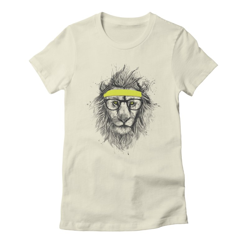 Hipster Lion Women's Fitted T-Shirt by Balazs Solti